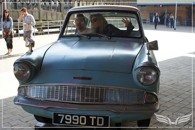 The Establishing Shot: THE MAKING OF HARRY POTTER TOUR - OUTSIDE SETS DRIVE ARTHUR WEASLEY'S 1963 FORD ANGLIA 105E DELUXE