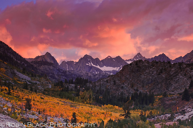 Fiery Autumn Sunset over the Evolution Range (Eastern Sierra Nevada)