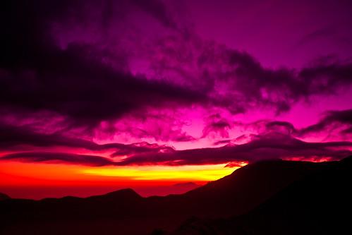 pink blue cloud sunrise indonesia volcano sand asia mt east ash rays dust bromo
