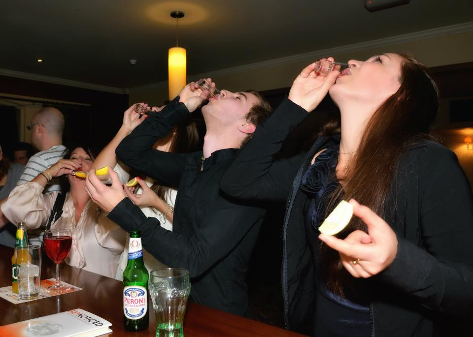 Drinking tequila shots at the Get Noticed book launch party