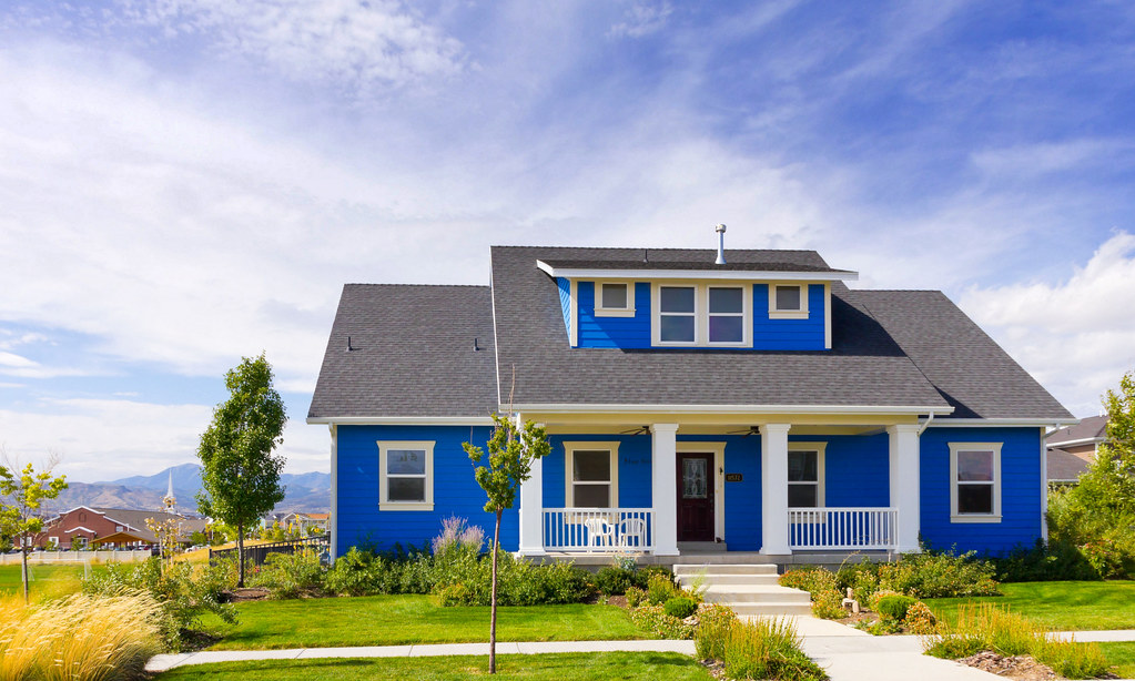 New Blue Bungalow House Modern Blue Bungalow Home In