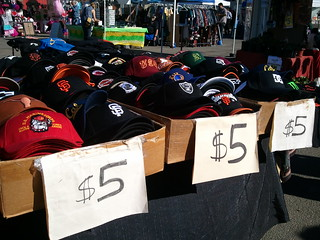 Baseball caps for $5 on Treasure Island flea market