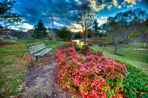 park blue autumn trees sunset red sky lake tree fall water clouds canon bench nc high bush dynamic asheville mark louise ii 5d range bushes hdr weaverville
