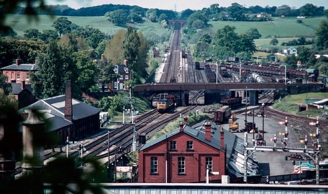 47 320 passing Shrewsbury Coton Hill Yard. 1981.