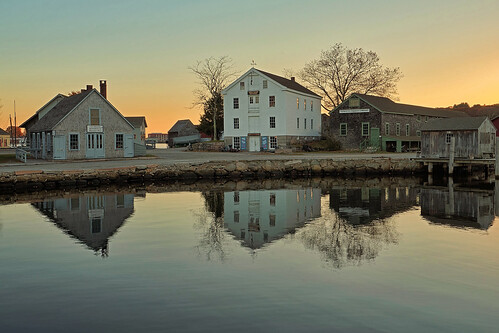 sunset reflection water museum river landscape connecticut sony ct maritime nautical seashore hdr mystic seaport stonington a7ii