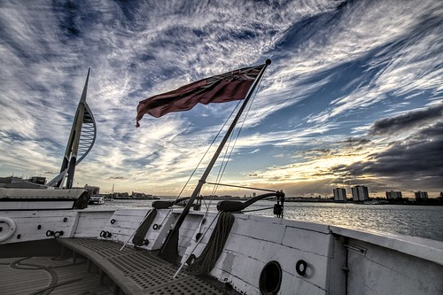 warrior hms flag redduster evening sunset portsmouth navy steam sail england ship ships tower winter crepuscular rays sky skies hmswarrior english britain brittania history