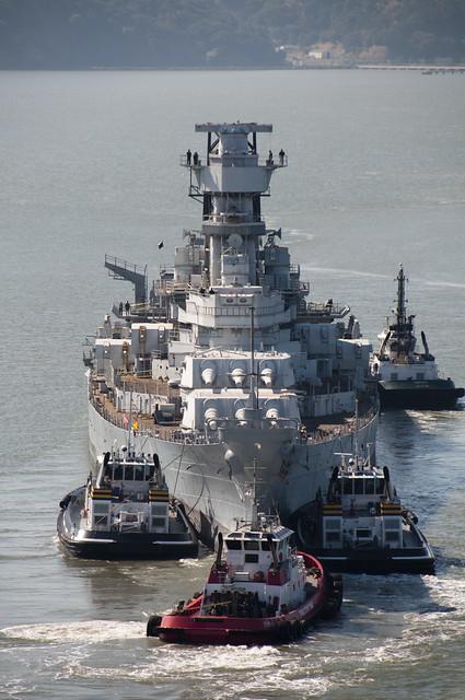 USS Iowa (BB-61) on the move