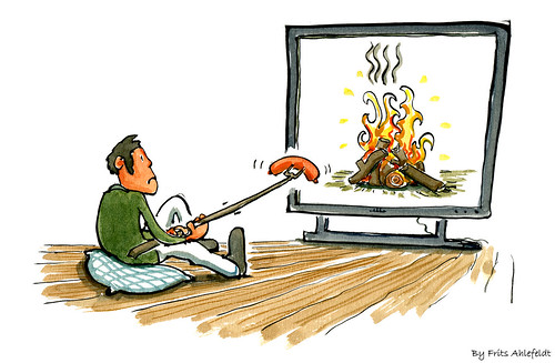 barbecue at the digital fireplace screen | by Frits Ahlefeldt FritsAhlefeldt.com