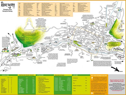 Thimphu Valley Bhutan Illustrated Map (low res) | by andreakw