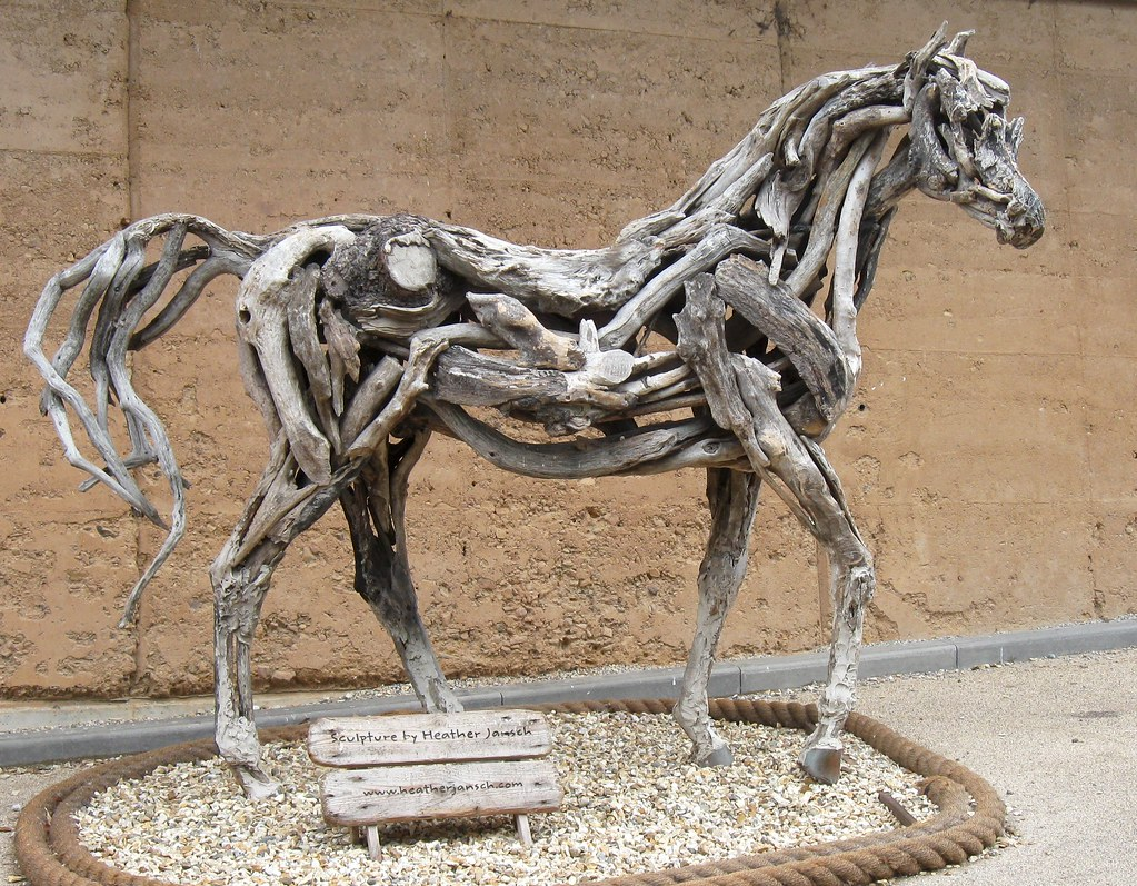 Horse Sculpture In Wood At The Eden Project Driftwood Scul
