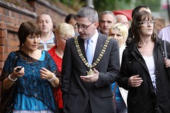 Belfast Lord Mayor with abuse survivors outside site of Nazareth House, Belfast