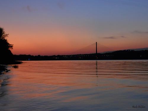sunset water river waves ohioriver orangeandblue reflectionsonwater huntingtonwv 31ststreetbridge rcvernors cabellcountywv proctorvilleoh guyandottewv rickchilders bridgesilhouette