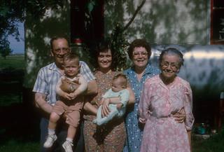 "Earl Nicholas, Thane Plambeck (kid), Marlene Plambeck (holding Alison Plambeck Braun), Beatrice Opal Nicholas, and Mathilda ""Tillie"" Lueth, (left to right) | by thane"