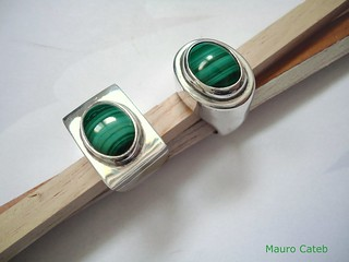 Silver and malachite rings | by Mauro Cateb