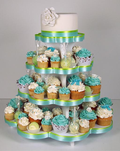 W9108 - aqua green wedding cupcake tower