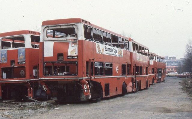 London Transport . MD104 OUC104R ( rear view ) . Kingston Coal Yard . 15th-January-1980 .