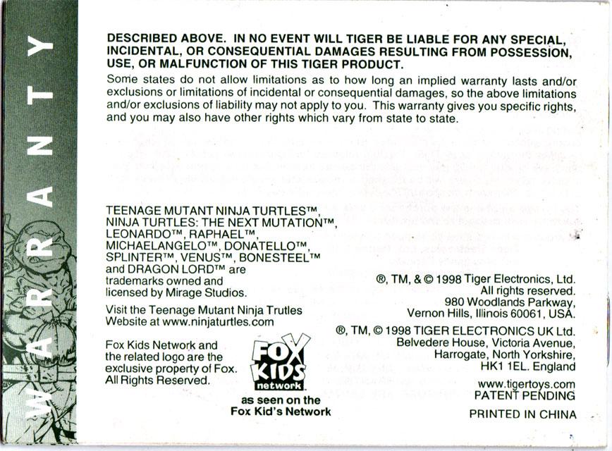 "TIGER ELECTRONICS :: ""NINJA TURTLES: THE NEXT MUTATION"" ELECTRONIC LCD GAME ..INSTRUCTION MANUAL  pg.16 (( 1998 )) by tOkKa"