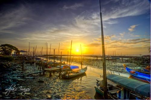 life blue sunset sun love beach yellow boat fisherman village kuala perlis samglang