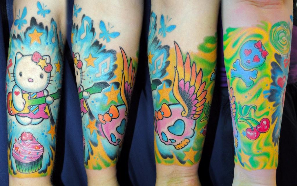 d15b392ab6145 Hello kitty tattoo sleeve | Half sleeve with Hello Kitty in … | Flickr