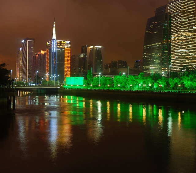 GRC Bank Building and the Pearl River at Night