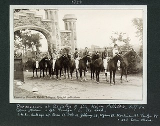 Procession at the gates of Sir Henry Pellatt's