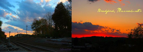 blue sunset red sky orange usa beautiful yellow tangerine clouds ma fire one amazing cool nice fantastic october diptych bradford dusk massachusetts year peach 17 ago today 17th 2010 haverhill exactly