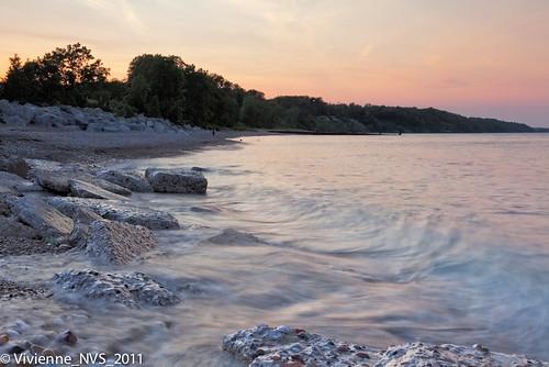 sunset beach illinois rocks pebbles lakemichigan lakecounty concreteslabs fortsheridan lcfpd