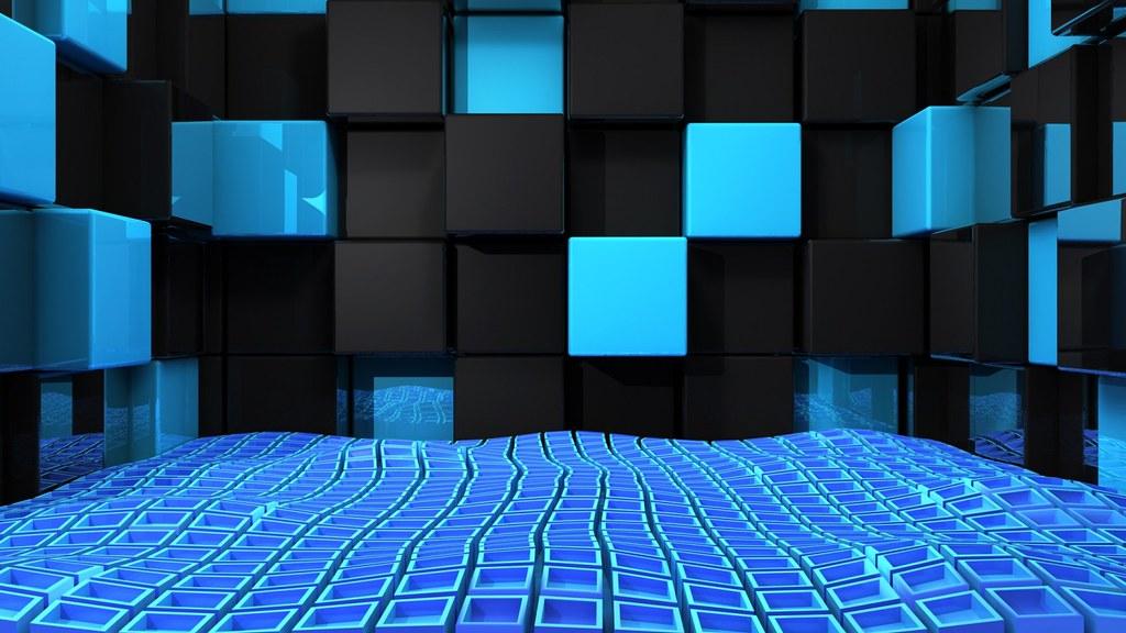 3d Cubes The Cubes Wallpaper Black Blue 3d Cubes Wallpaper