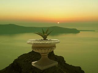 Sunrise overlooking Santorini island