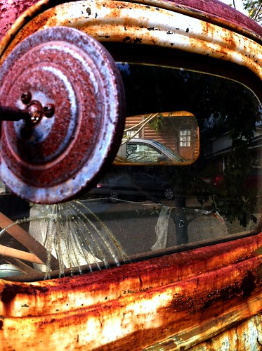 red reflections mississippi rust rearviewmirror rusted windshield