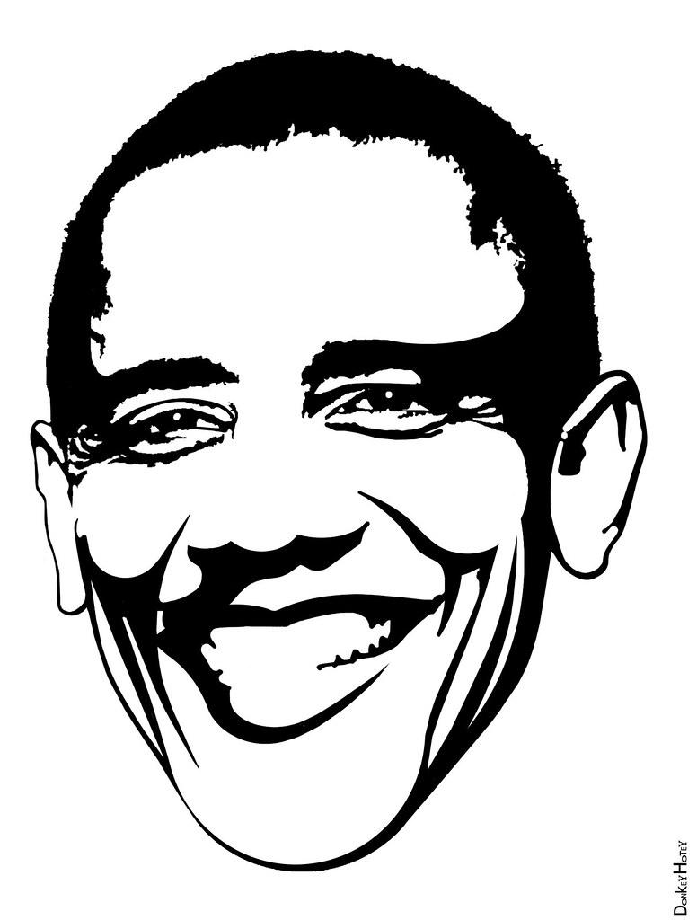 Barack obama black white pumpkin carving template by donkeyhotey