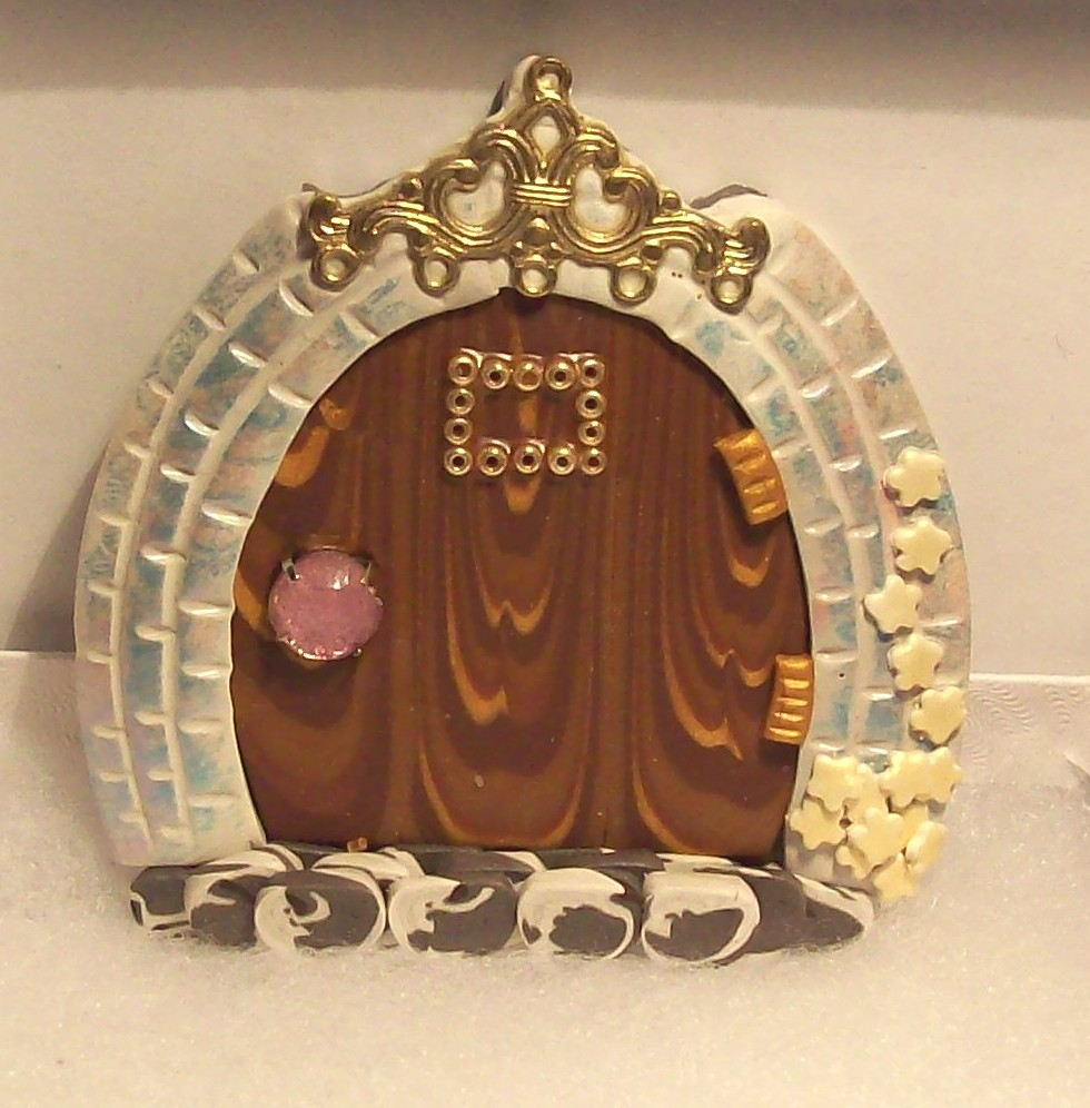 Polymer Clay Fairy Door | Attach to wall just above the base