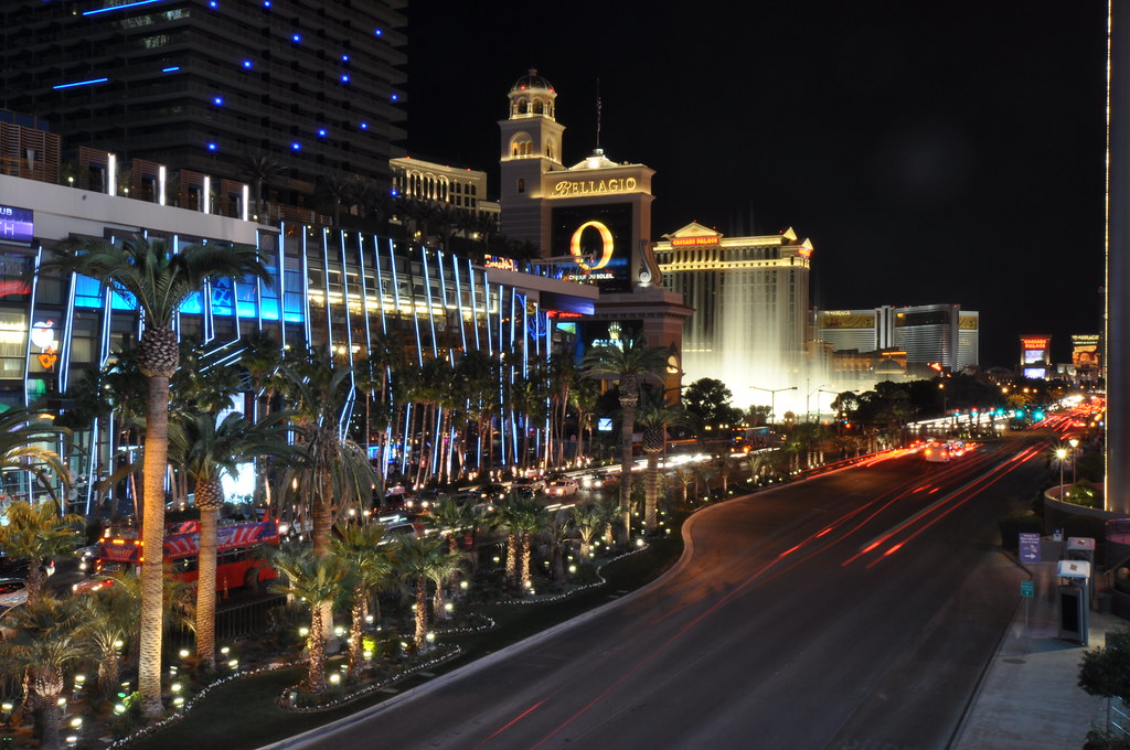 Las Vegas Strip and Bellagio Fountains at Night