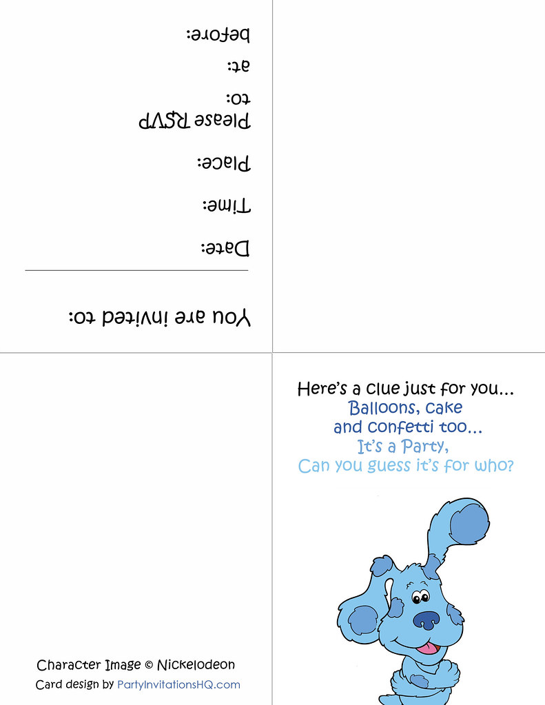 Printable Blue S Clues Party Invitations Click Here To Get Flickr