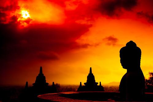 old red orange sun clouds century sunrise indonesia temple java asia mt mount buddah 8th borobudur merapi