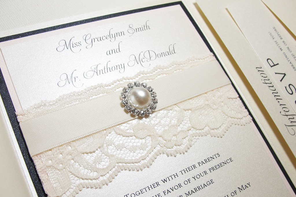 Lace Wrapped Pearl Wedding Invitations Lace Wrapped Pearl Flickr