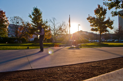 morning columbus ohio fall silhouette sunrise campus concrete person sand october quad flare streaks ccad 2011 nikhilnigade