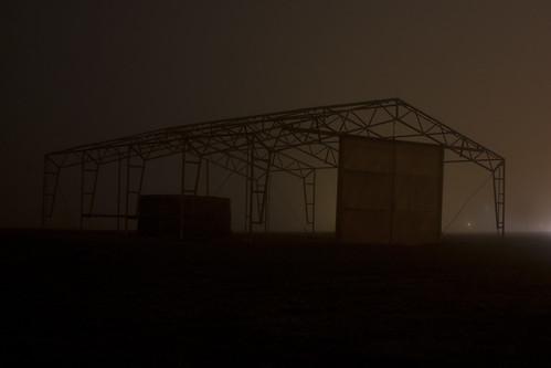 mist building skeleton lights evening steel vänersborg