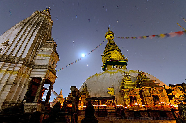 Swayambhunath Stupa in total darkness