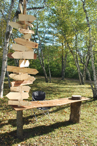 David Robbins Open-Air Writing Desk Fabricated by American Fantasy Classics, Milwaukee Wood, camping chair