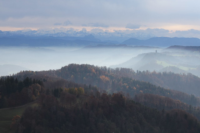 Misty Landscape from the Uto Kulm observation tower on Üetliberg