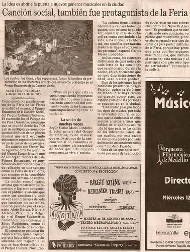 Periódico El Mundo Medellín Agosto 9 de 2009