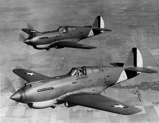 P-40 Warhawk fighters in flight (1939/40)
