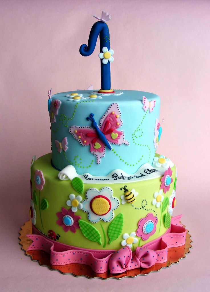 Flowers And Butterflies Cake Happy 1st Bday Evelin