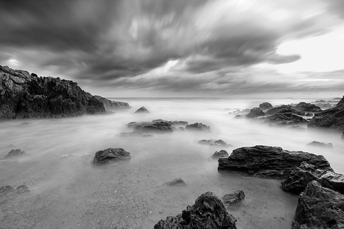ocean blackandwhite beach nature fog landscape coast waves pacific australia tokina1224 coffsharbour tokinaatx124 canon40d coffscoast