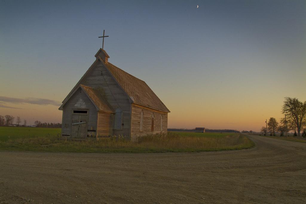 Crossroads church at dusk
