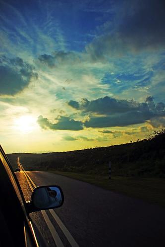 sunset sky sun clouds driving malaysia johorbahru