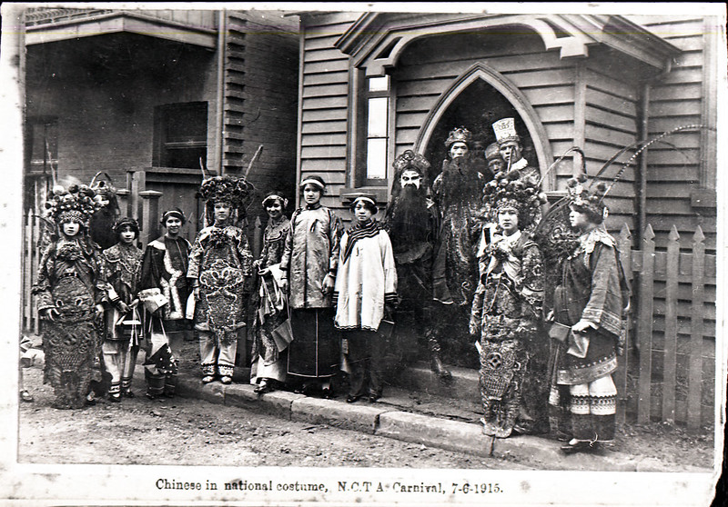 Chinese in national costume, NCTA, Chinese Presbyterian Church, Devonshire Lane, Newcastle, NSW, 7 June 1915