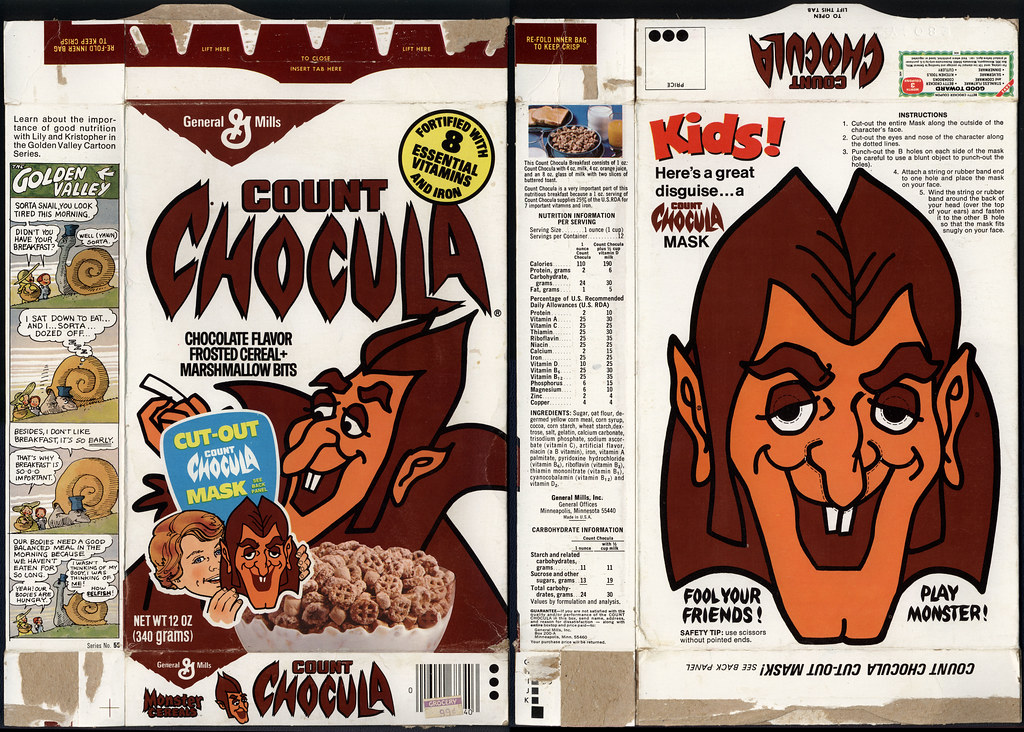 General Mills - Count Chocula - Cut-Out Mask - cereal box - 1977