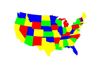 4-color map of the contiguous United States | Which is trivi ...